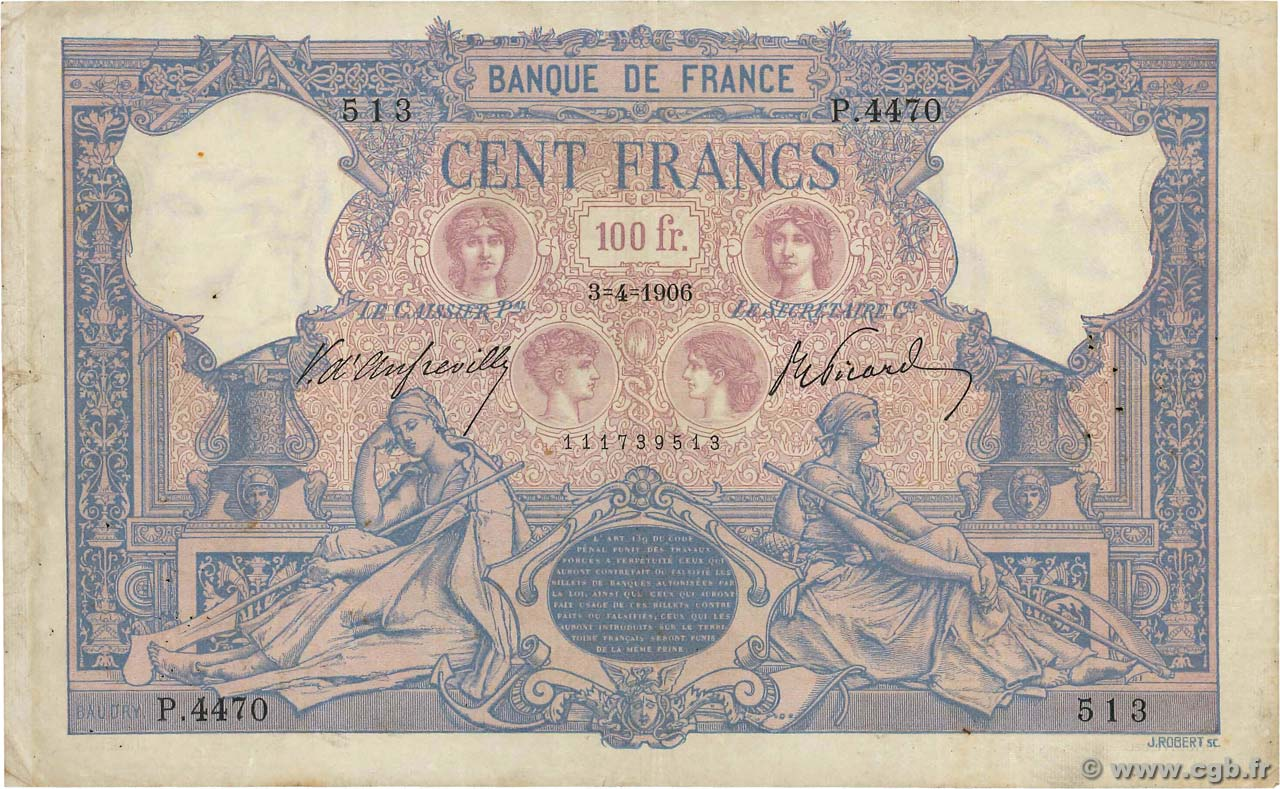 100 Francs BLEU ET ROSE FRANCE  1906 F.21.20 F