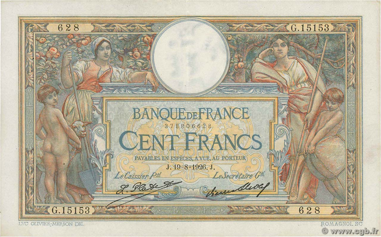 100 Francs LUC OLIVIER MERSON grands cartouches FRANCE  1926 F.24.05 XF