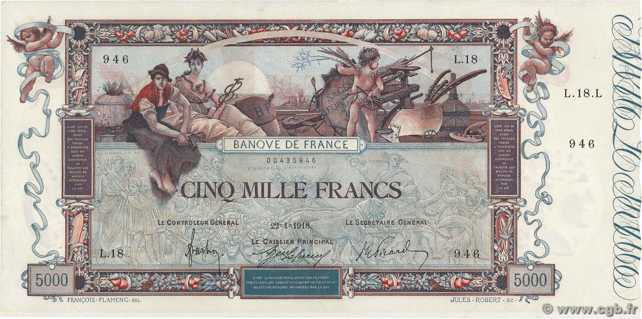 5000 Francs FLAMENG FRANCE  1918 F.43.01 XF