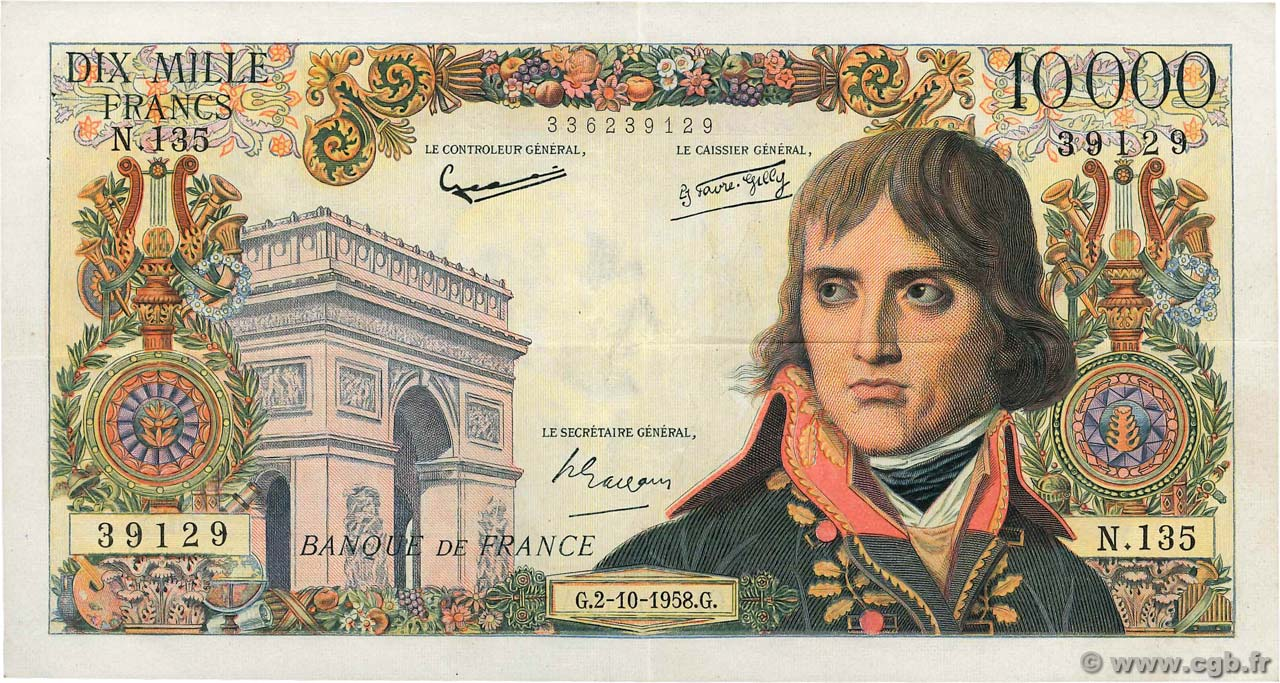 10000 Francs BONAPARTE  FRANCE  1958 F.51.13 TTB+