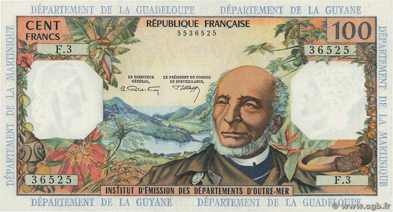 100 Francs FRENCH WEST INDIES  1966 P.10b UNC