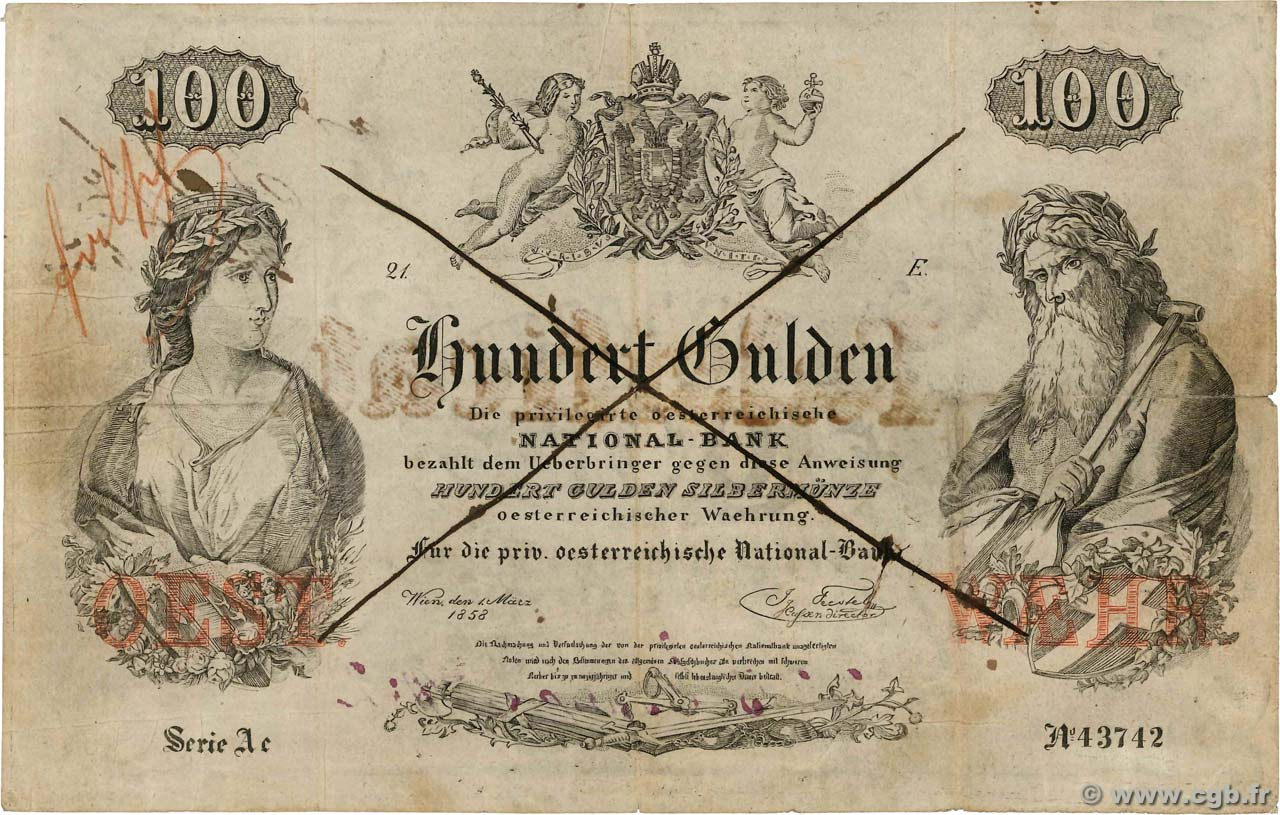 100 Gulden Faux AUSTRIA 1858 P.A086f F-