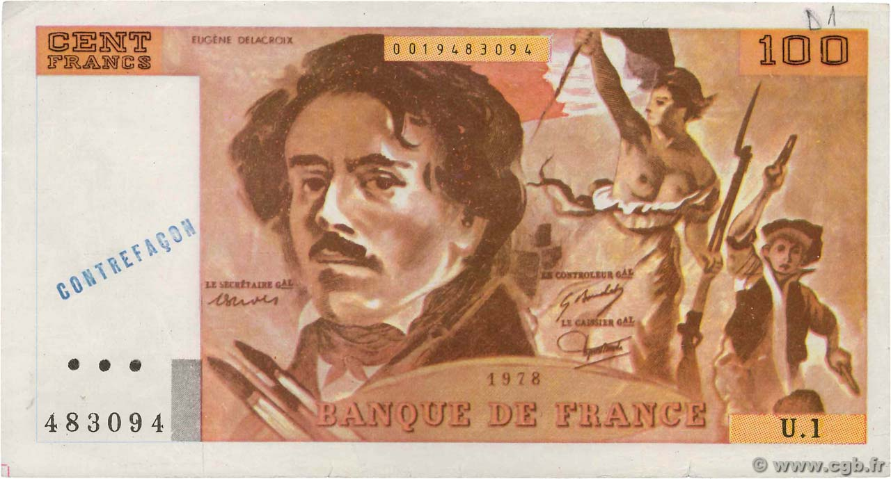 100 Francs DELACROIX FRANCE  1978 F.68.01x VF