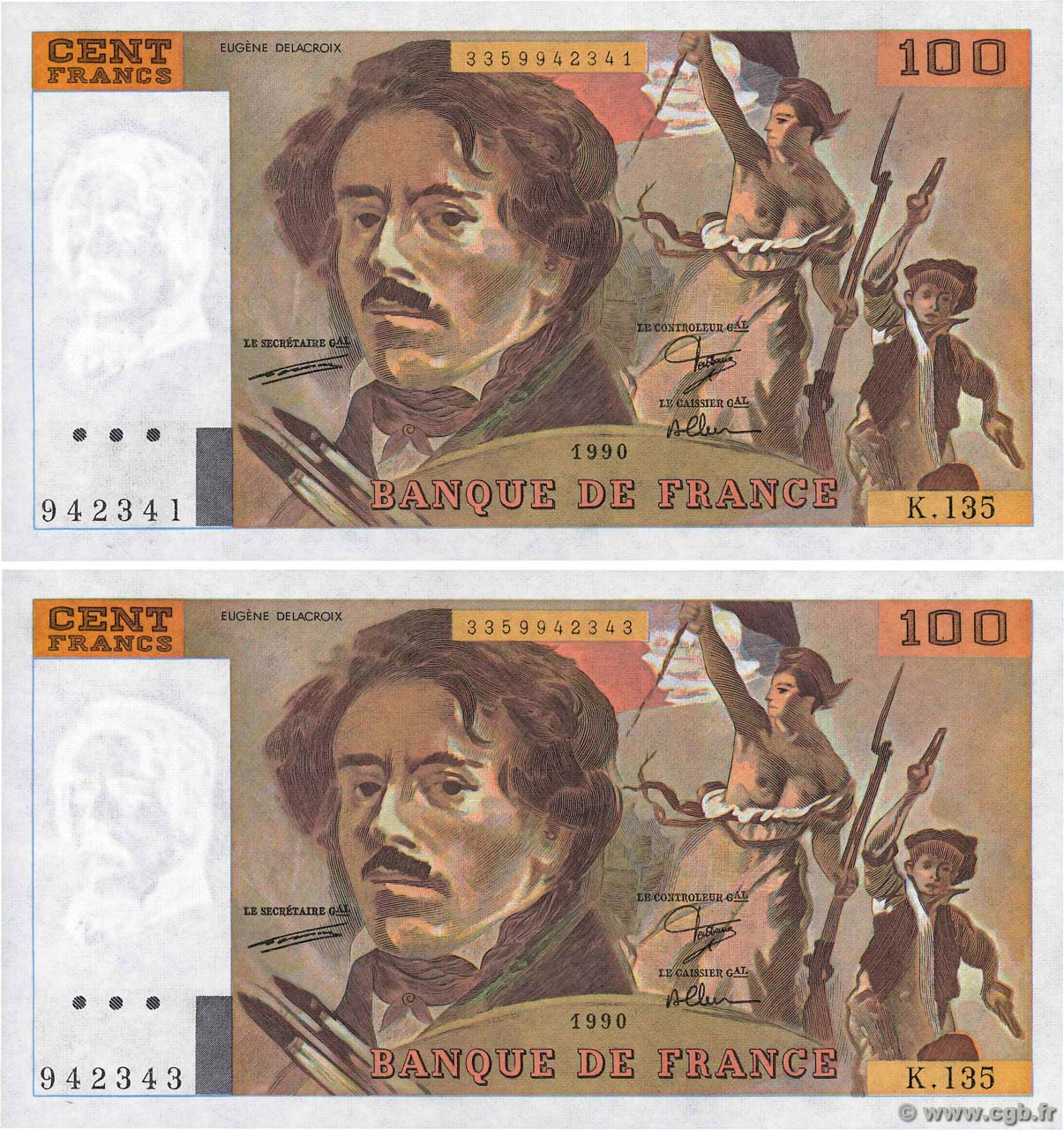 billet de banque 100 francs delacroix