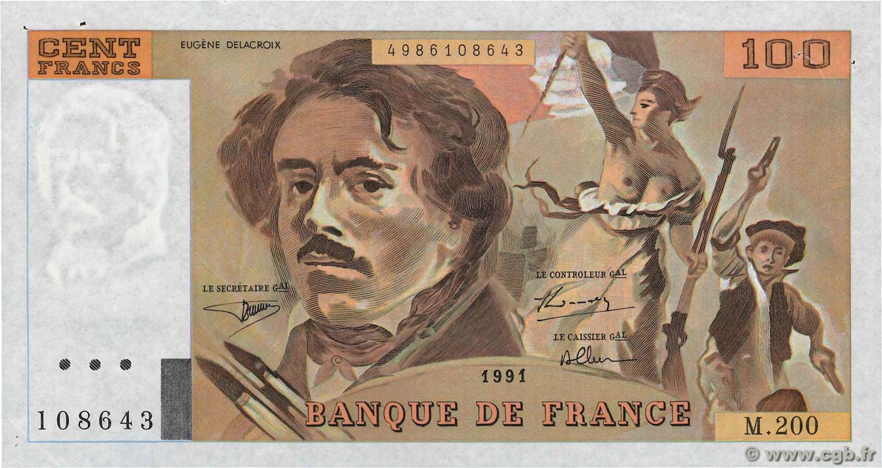 100 Francs DELACROIX  UNIFACE  FRANCE  1991 F.69bisU.04 SUP+