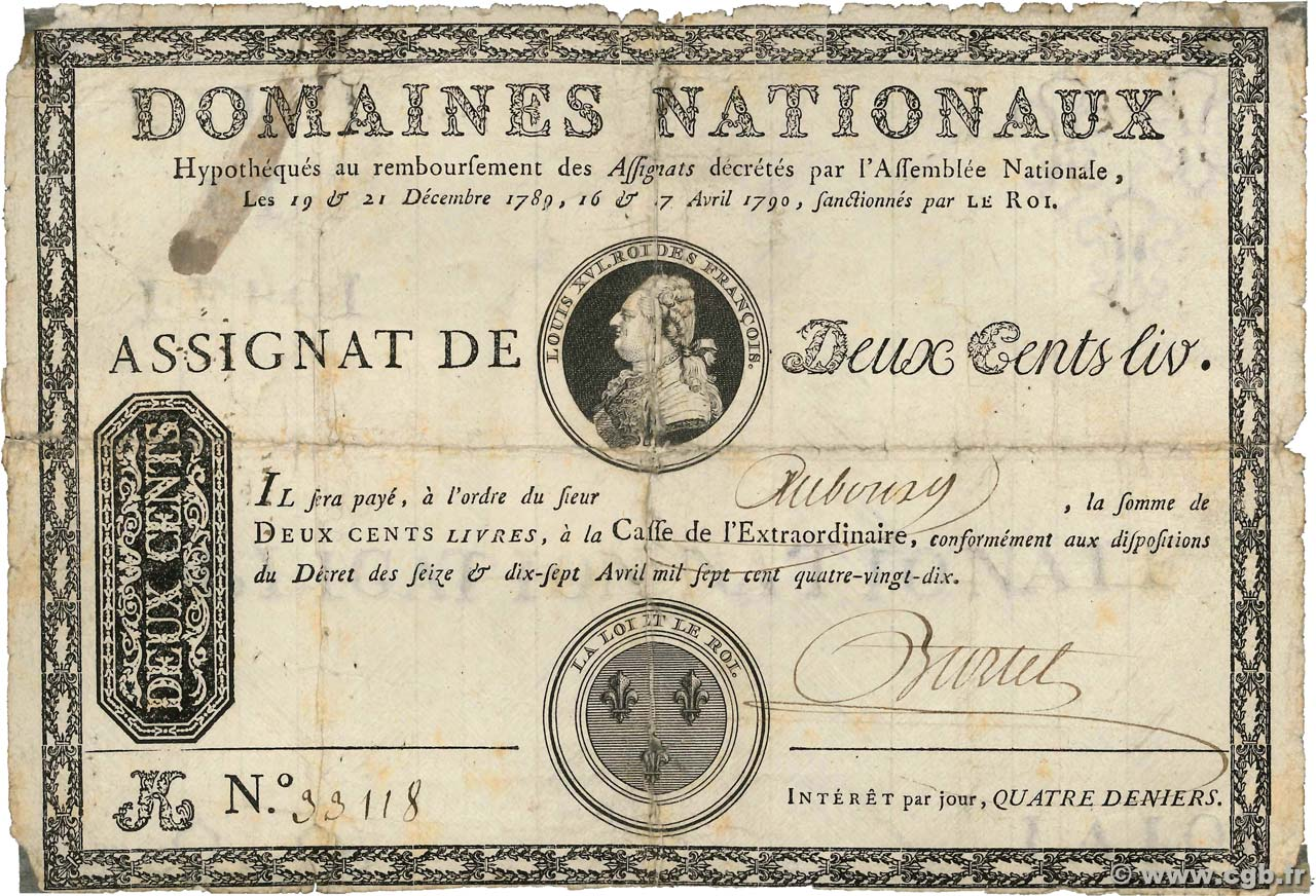 200 Livres sans coupons  FRANCE  1790 Ass.01b B+