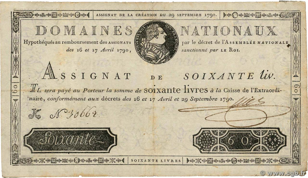 60 Livres FRANCE  1790 Ass.05a TB