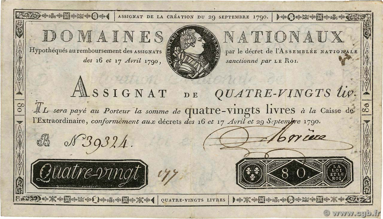 80 Livres FRANCE  1790 Ass.07a TTB