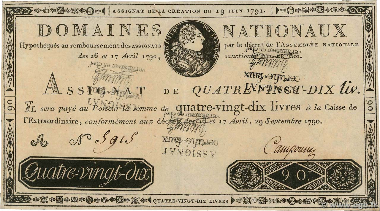 90 Livres FRANCE  1790 Ass.08x SUP