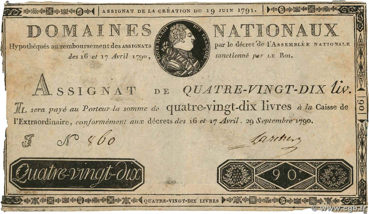 90 Livres Faux FRANCE  1790 Ass.08x pr.TB
