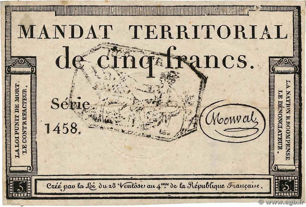 5 Francs Monval cachet noir FRANCE  1796 Ass.63b TTB
