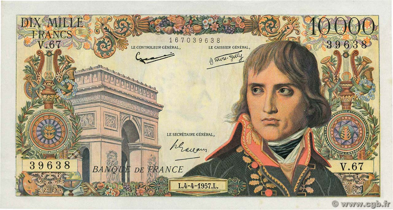 10000 Francs BONAPARTE FRANCE  1957 F.51.07 SPL