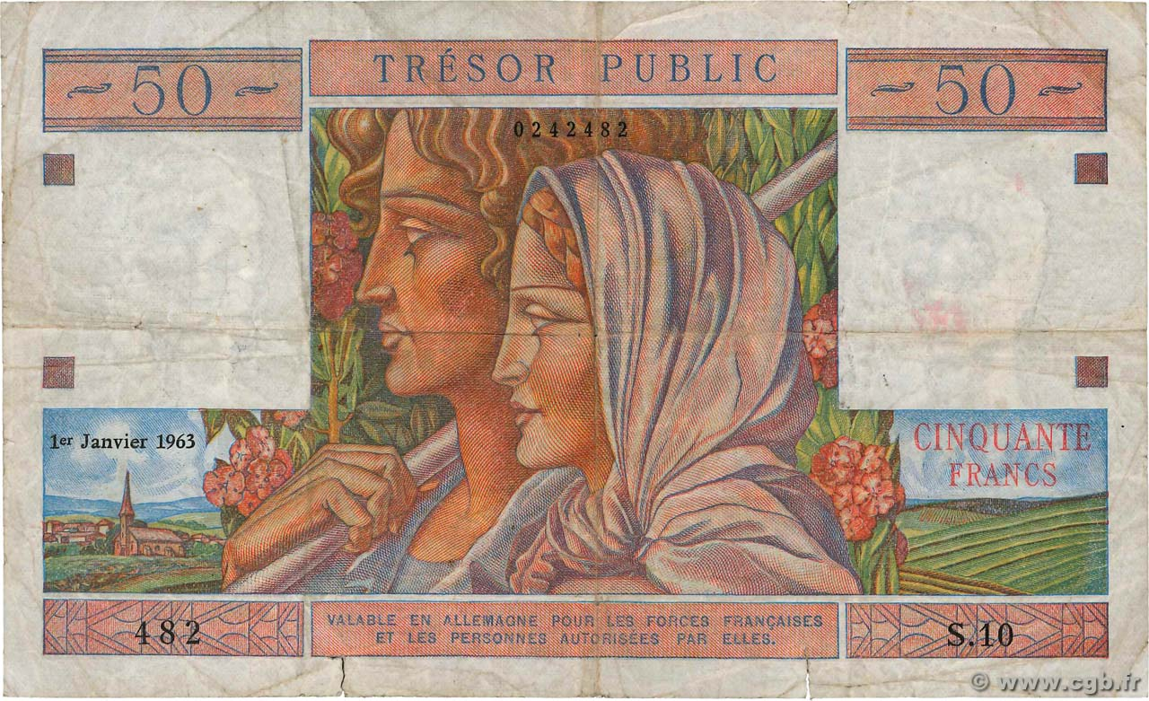 50 Francs TRÉSOR PUBLIC FRANCE  1963 VF.40.01 F-