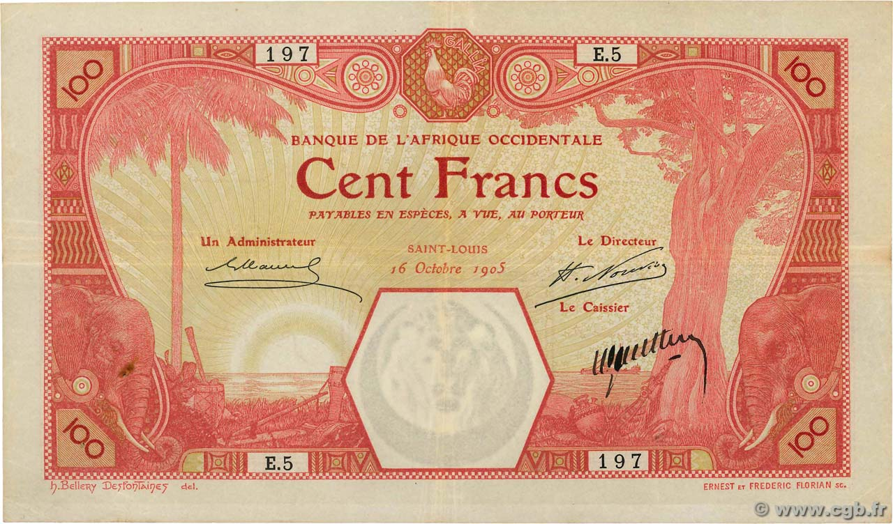 100 Francs SAINT LOUIS FRENCH WEST AFRICA (1895-1958) Saint Louis 1905 P.10F VF