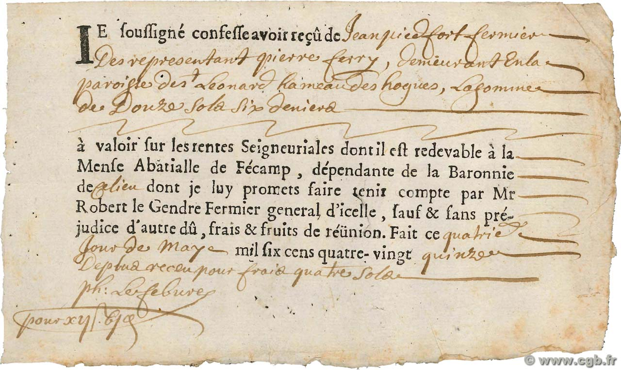 12 Sols 6 Deniers FRANCE  1695 Doc. TTB
