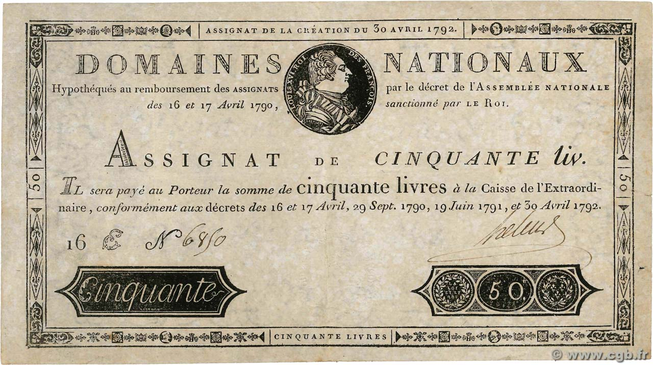50 Livres FRANCE  1792 Ass.28a pr.TTB
