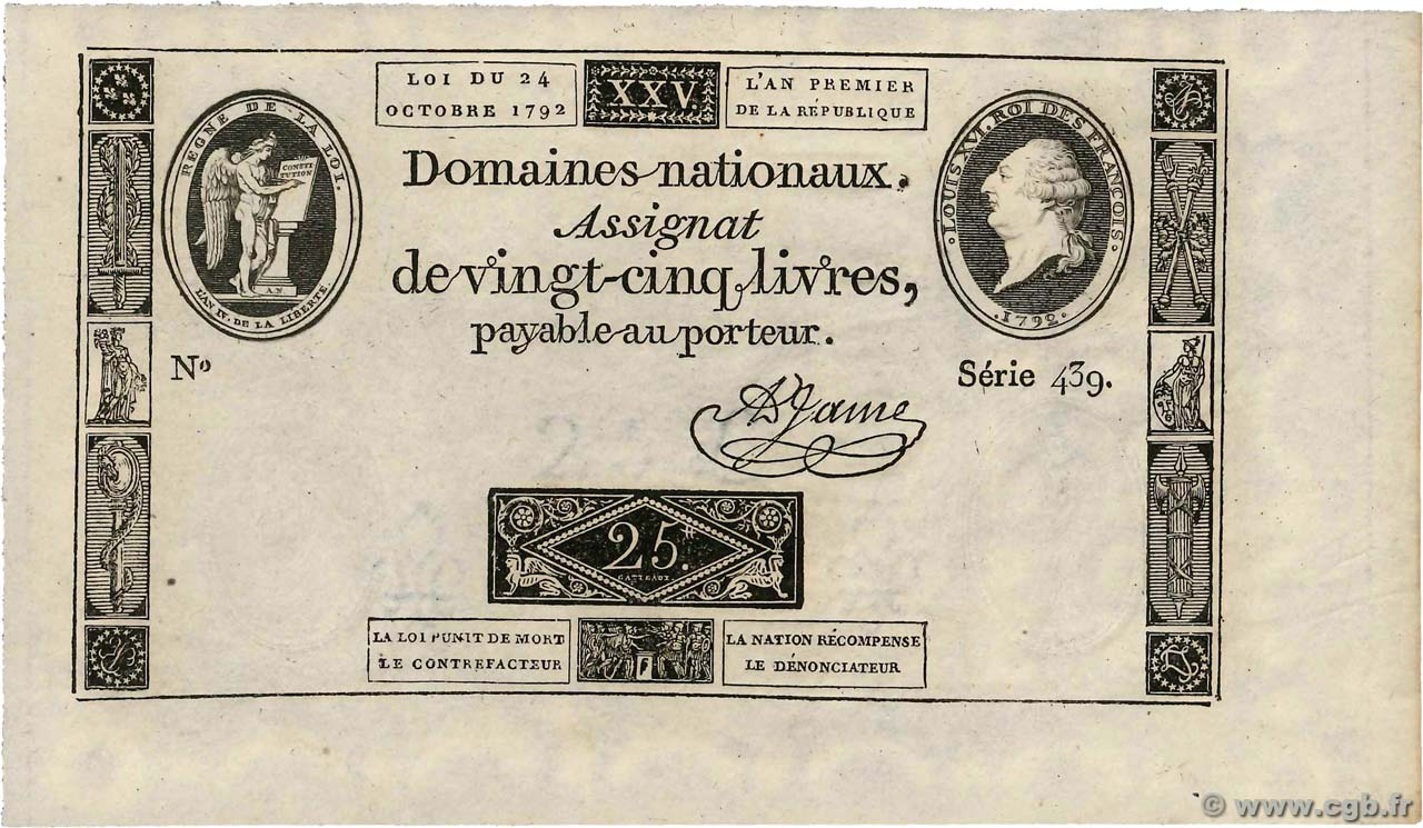 25 Livres  FRANCE  1792 Ass.37a SPL+