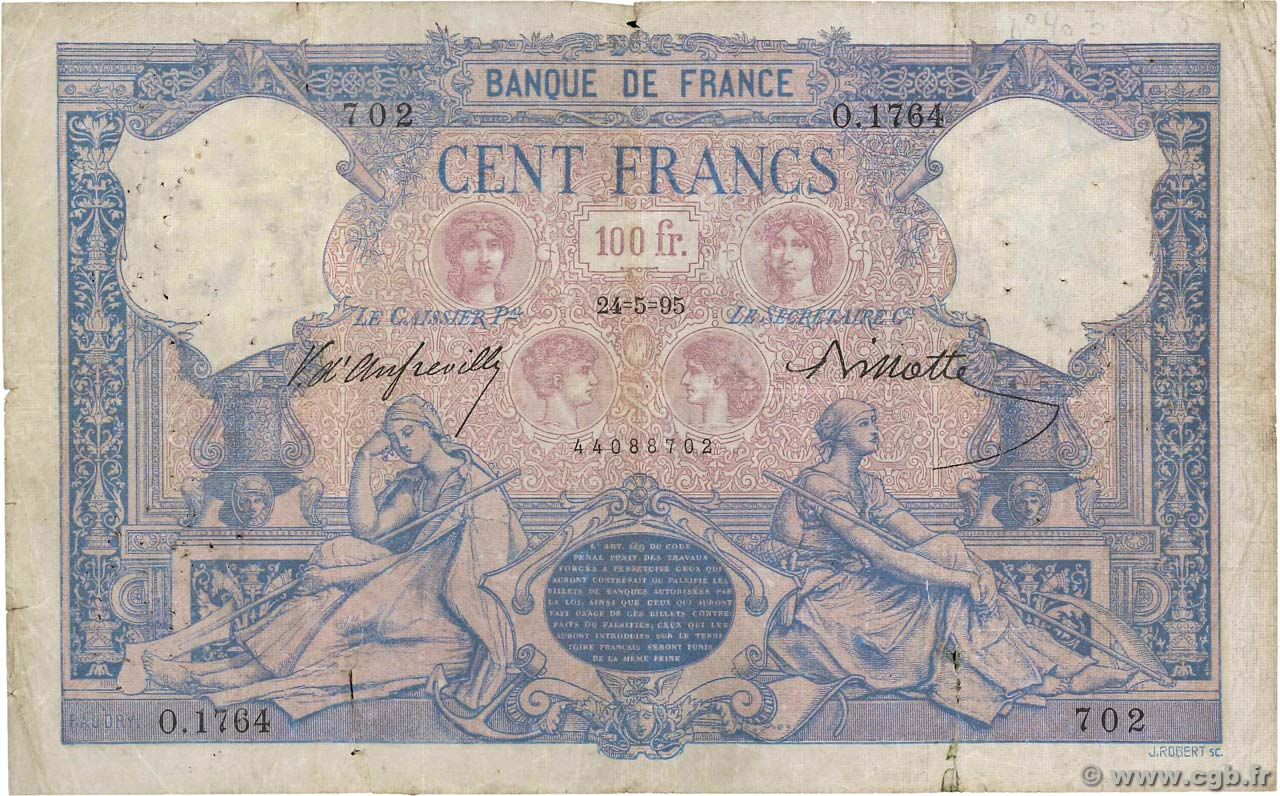 100 Francs BLEU ET ROSE  FRANCE  1895 F.21.08 B