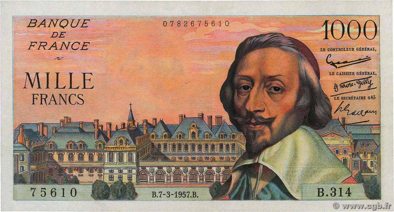 1000 Francs RICHELIEU FRANCE  1957 F.42.25 pr.SUP