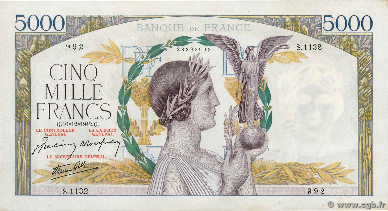 5000 Francs VICTOIRE impression à plat  FRANCE  1942 F.46.45 SUP
