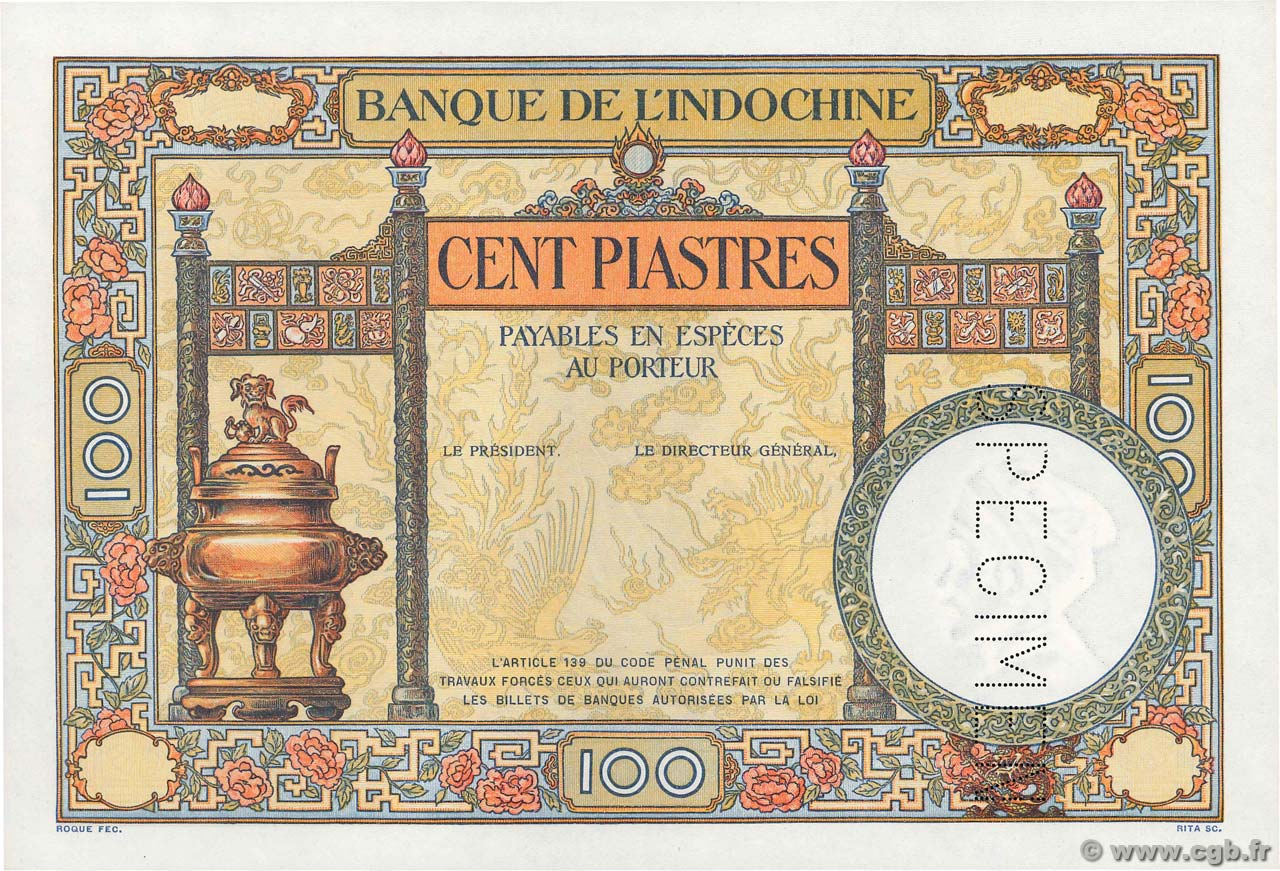 100 Piastres Épreuve FRENCH INDOCHINA  1927 P.051s UNC