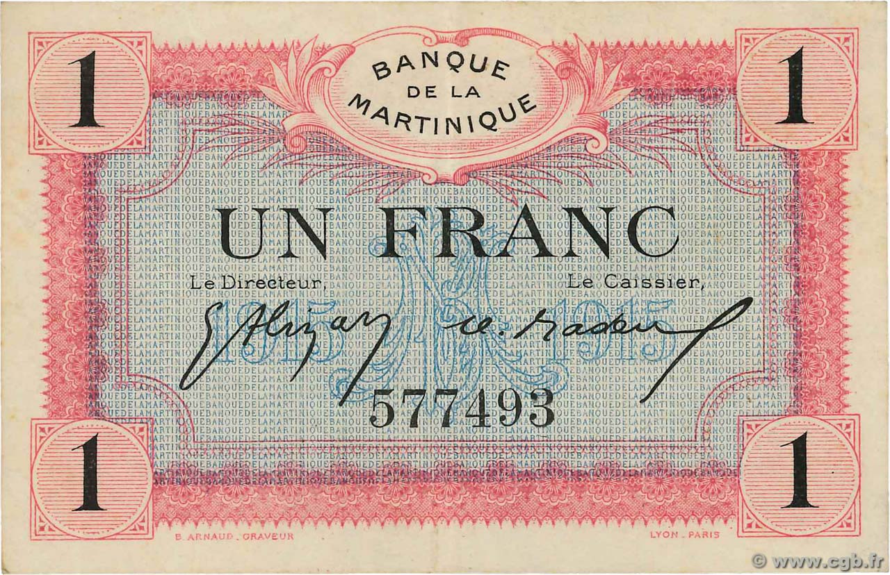 1 Franc  MARTINIQUE  1919 P.10 TTB