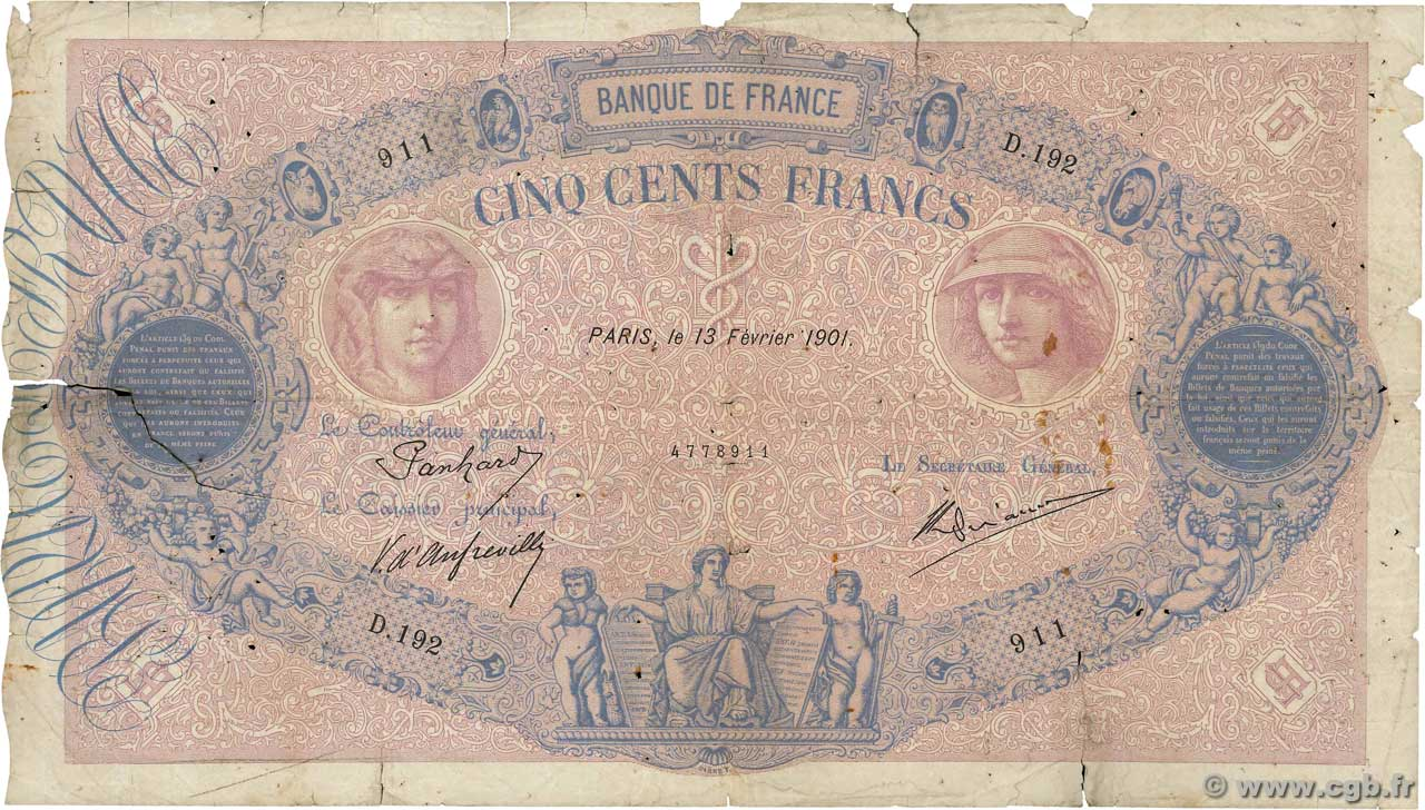 500 Francs BLEU ET ROSE FRANCE  1901 F.30.11 AB