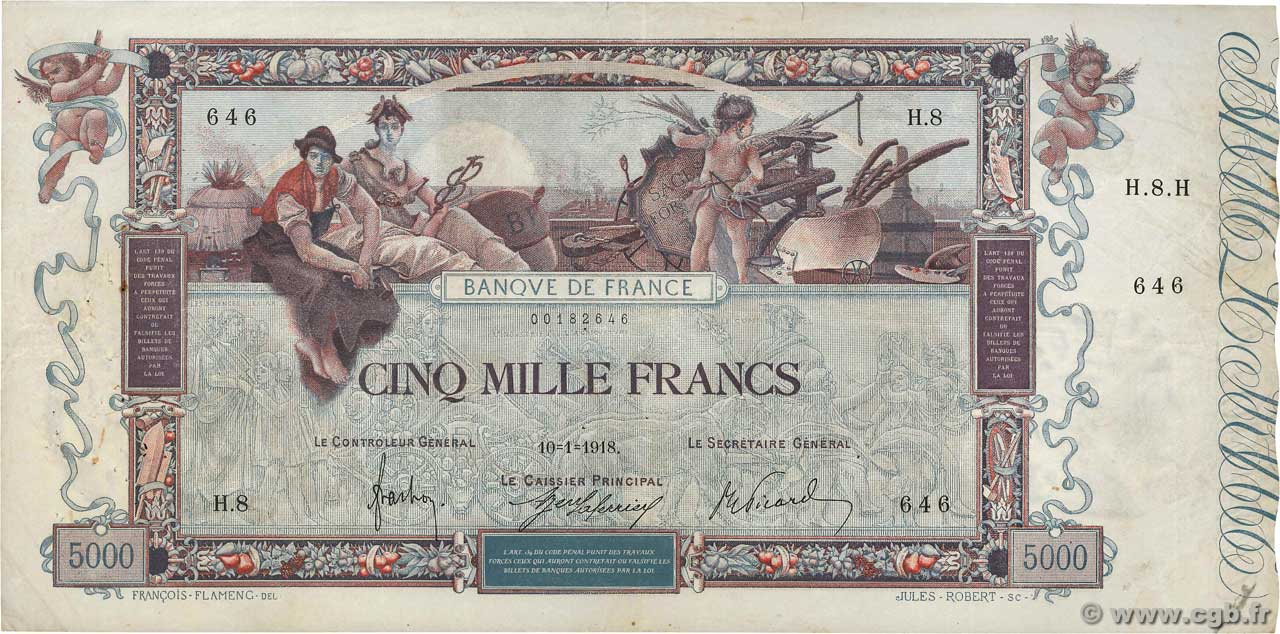 5000 Francs FLAMENG FRANCE  1918 F.43.01 TB à TTB