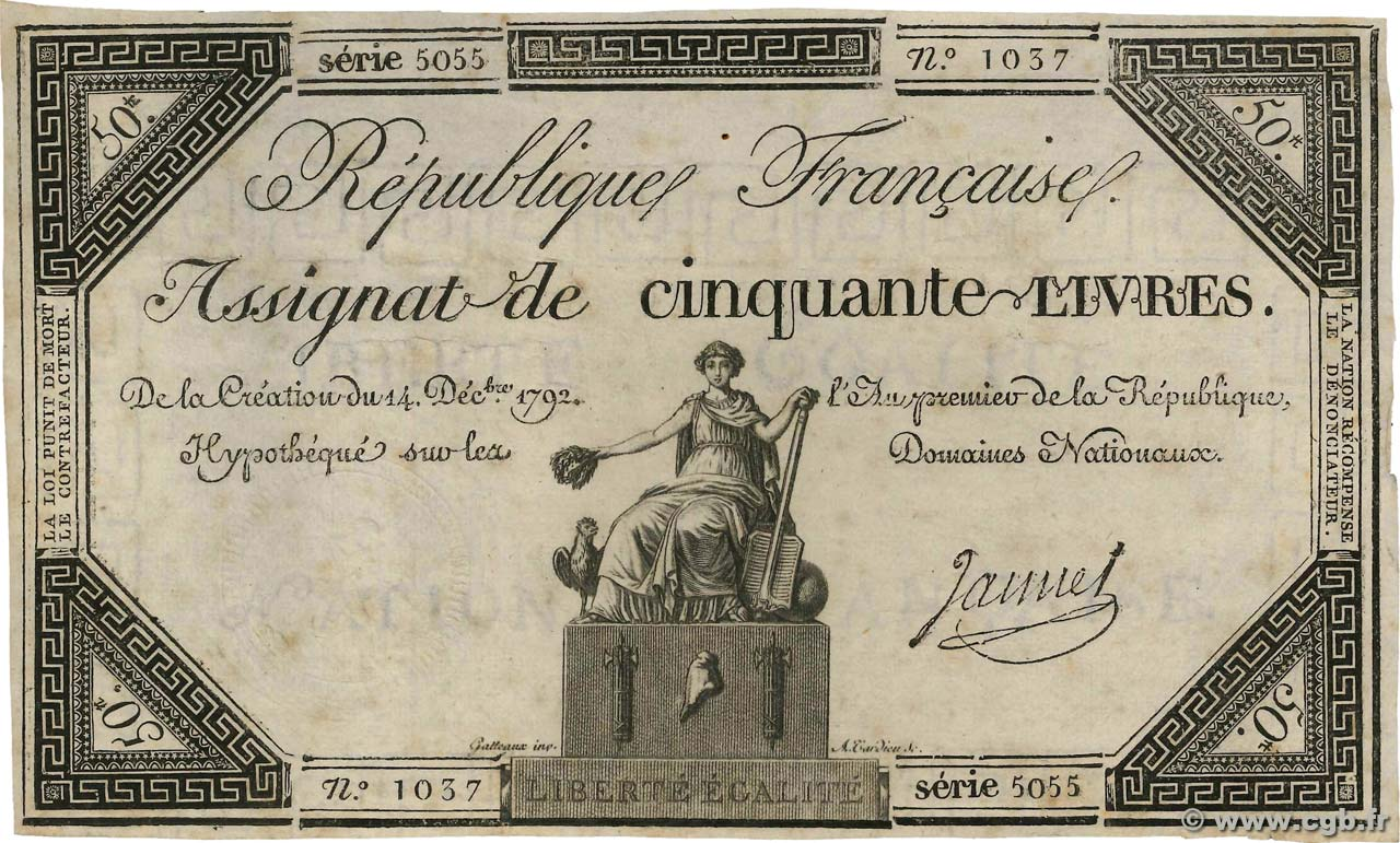 50 Livres  FRANCE  1792 Ass.39a pr.TTB