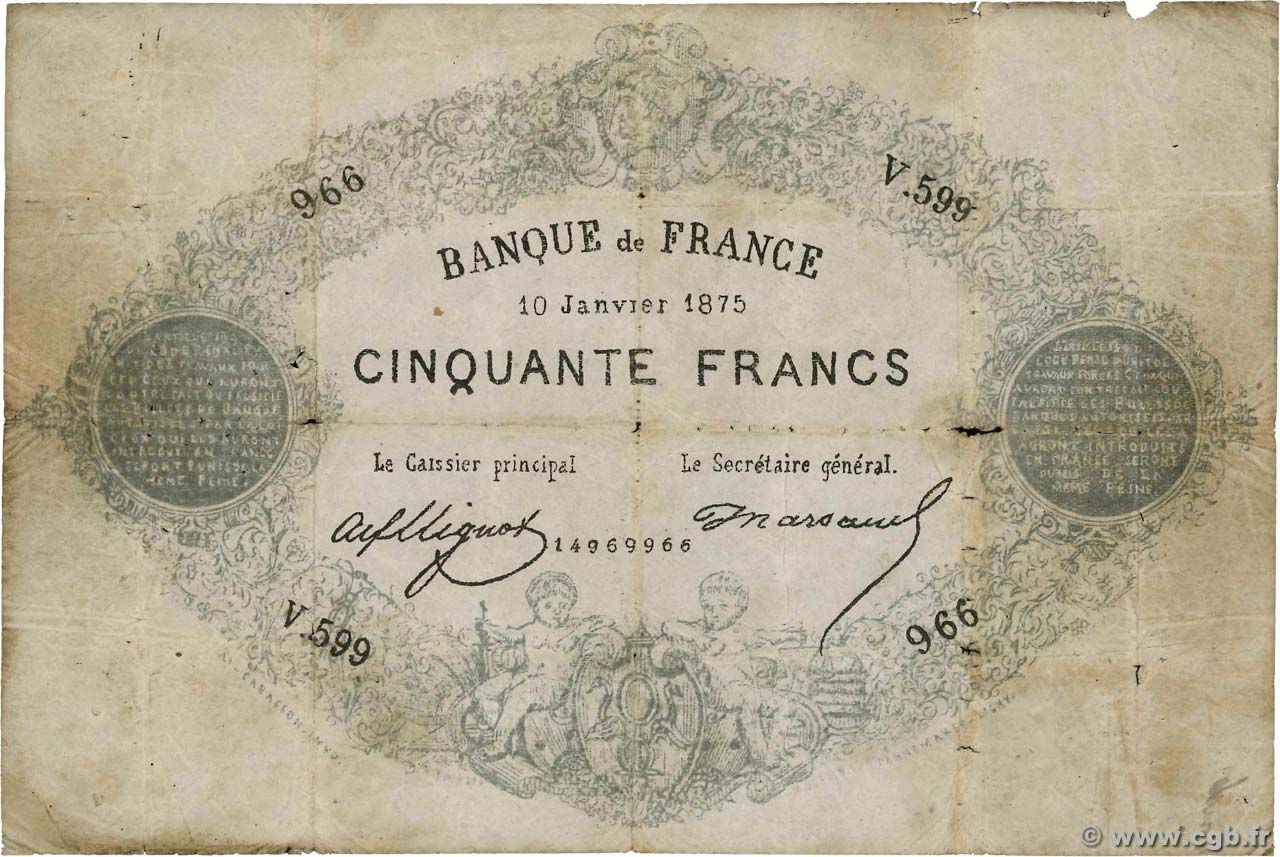 50 Francs type 1868 Indices Noirs Faux FRANCIA  1875 F.A38.09 RC