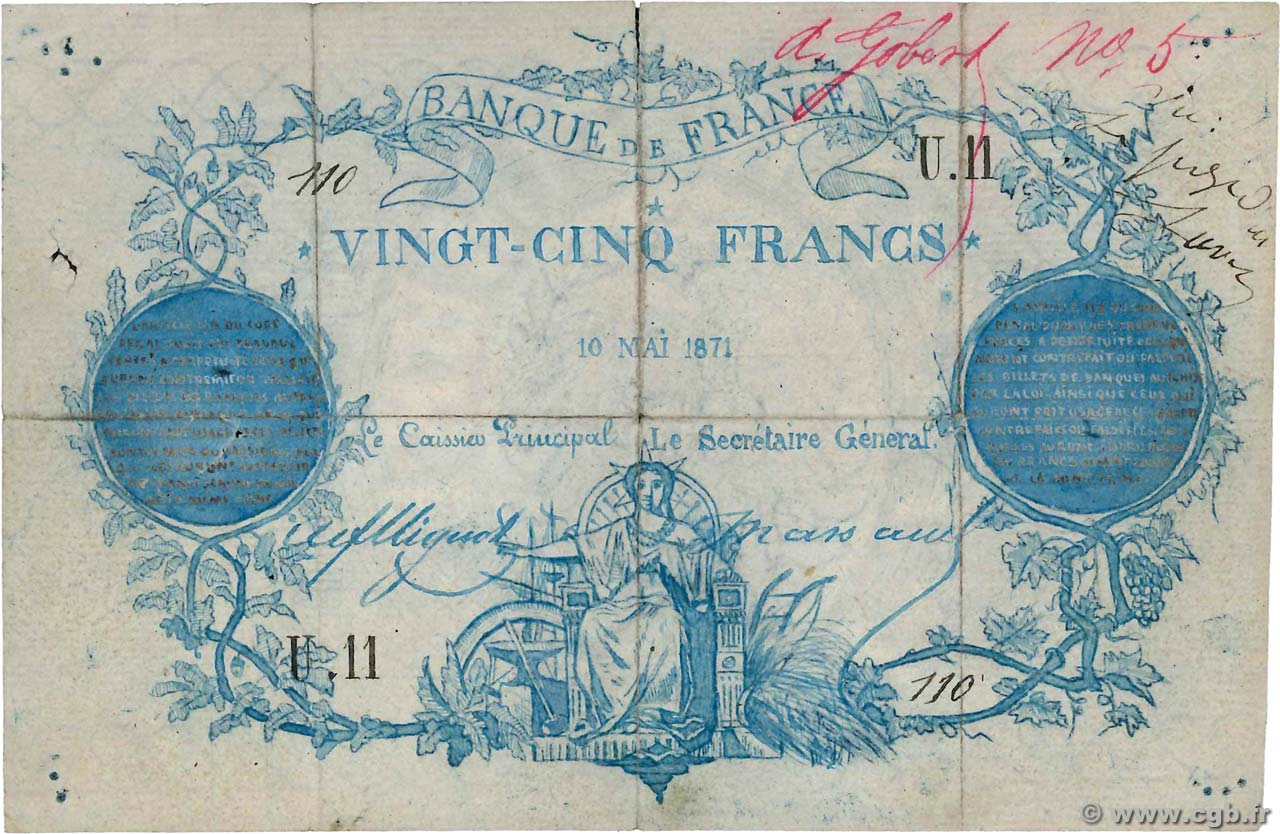 25 Francs type 1870 Clermont-Ferrand Faux FRANCE  1871 F.A44.01 F