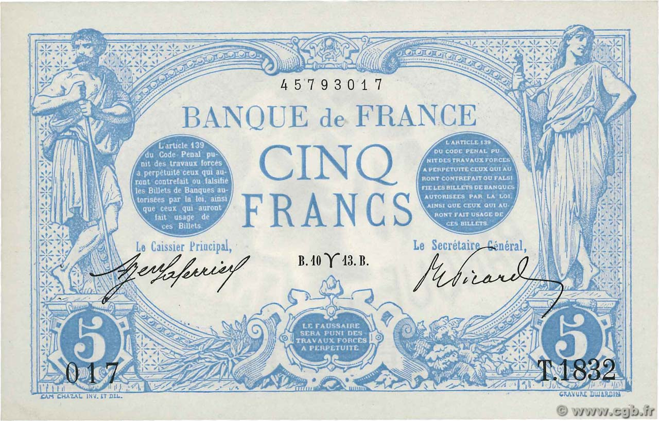 5 Francs BLEU FRANCE  1913 F.02.15 SPL