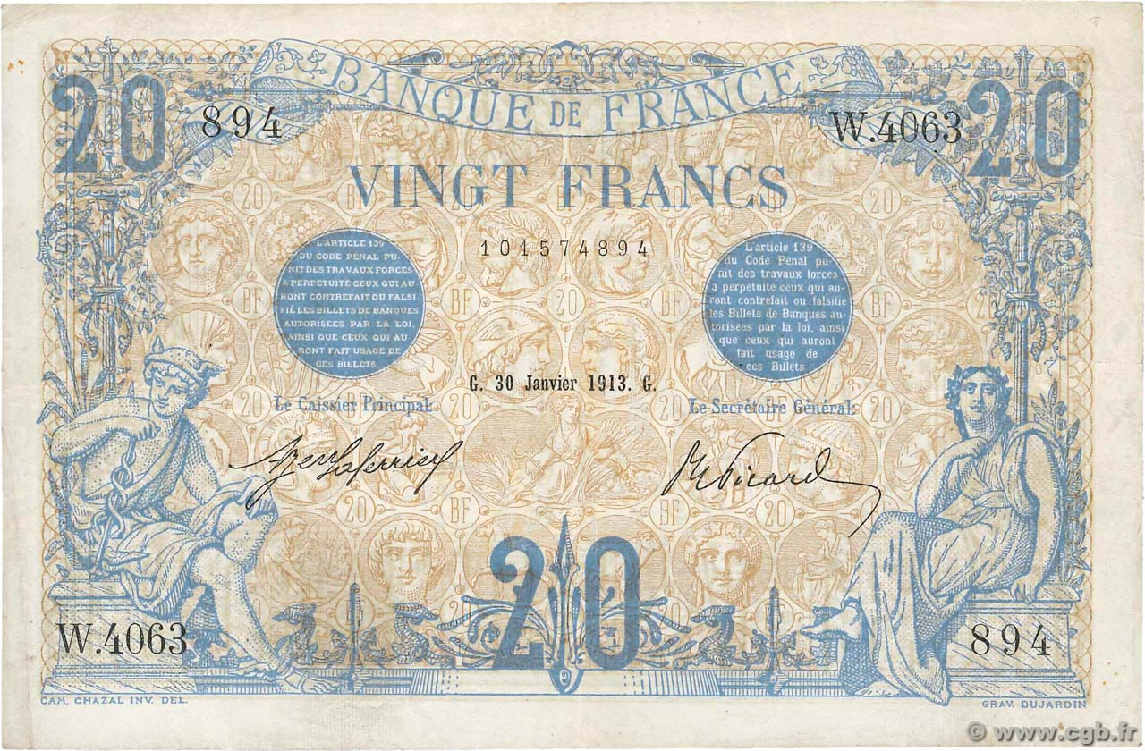 20 Francs BLEU  FRANCE  1913 F.10.03 VF