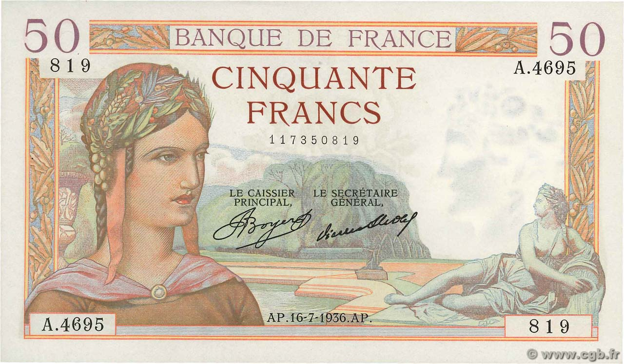 50 Francs CÉRÈS  FRANCE  1936 F.17.28 SUP