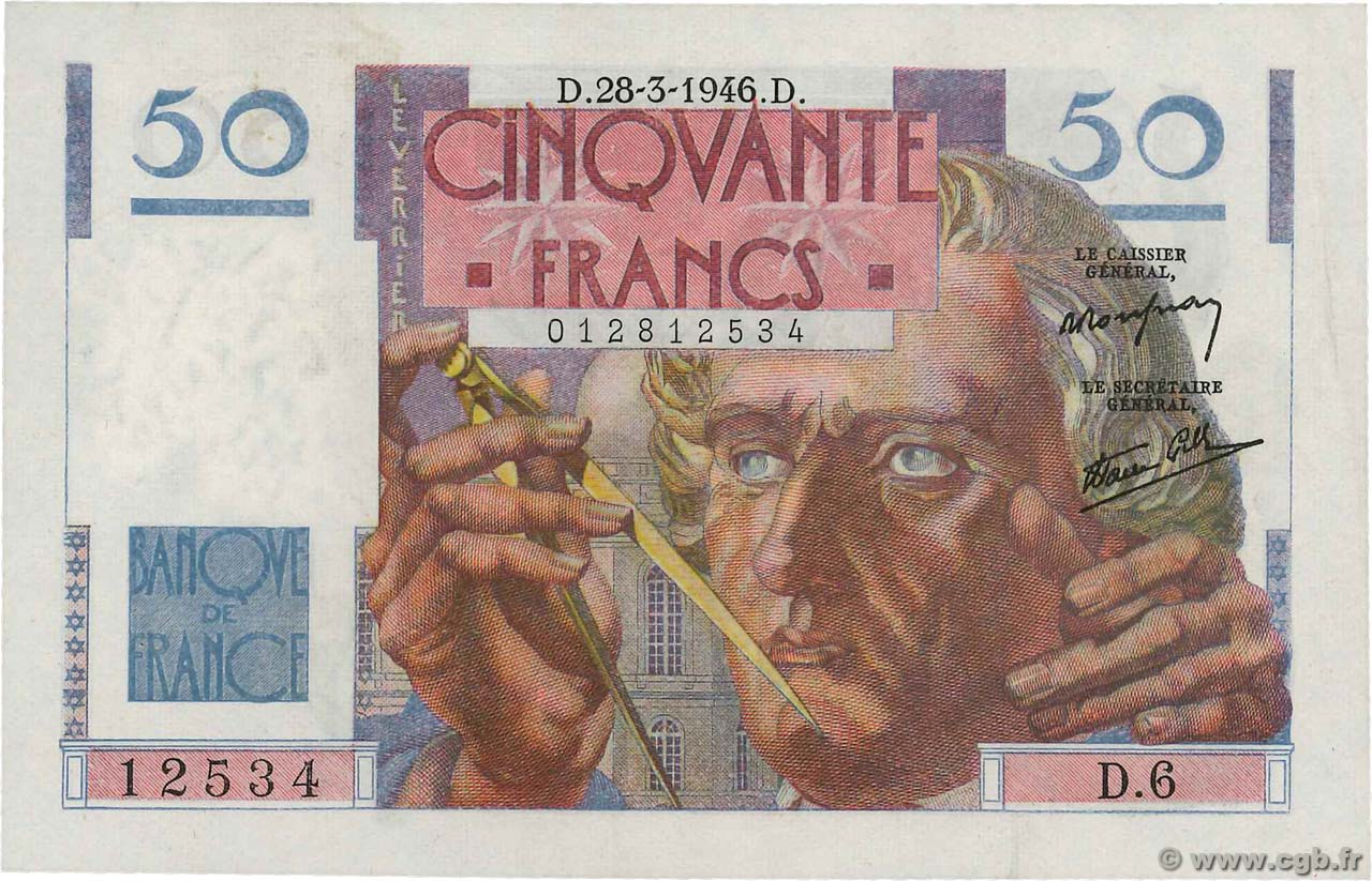 50 Francs LE VERRIER  FRANCE  1946 F.20.02 XF