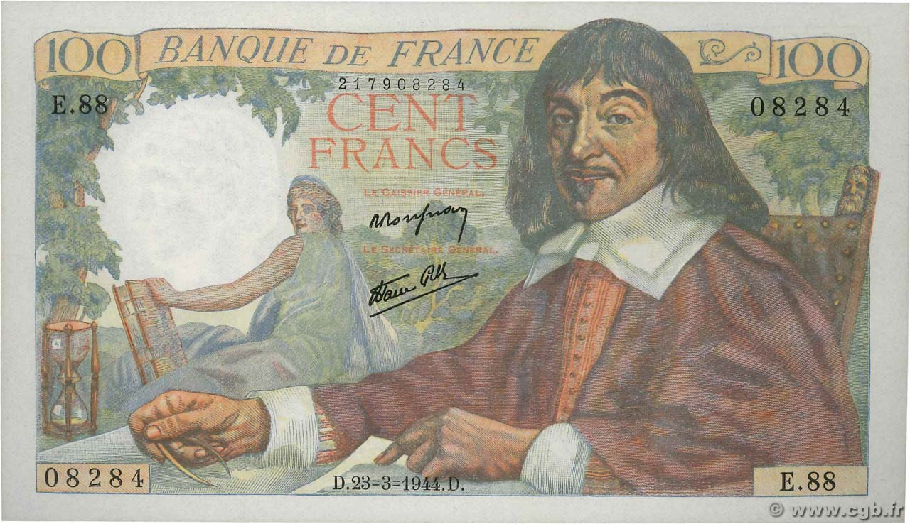 100 Francs DESCARTES  FRANCE  1944 F.27.05 UNC