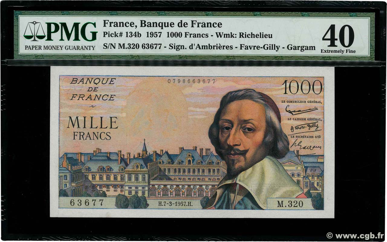 1000 Francs RICHELIEU  FRANCE  1957 F.42.25 XF-