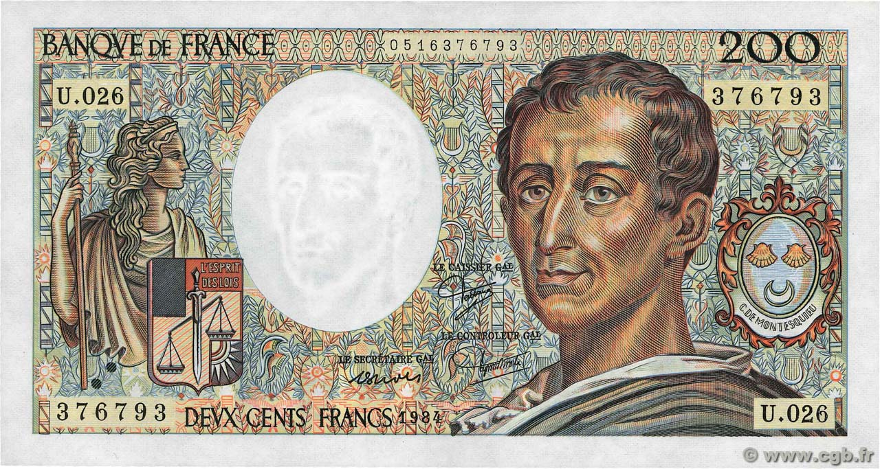 200 Francs MONTESQUIEU  FRANCE  1984 F.70.04 SPL