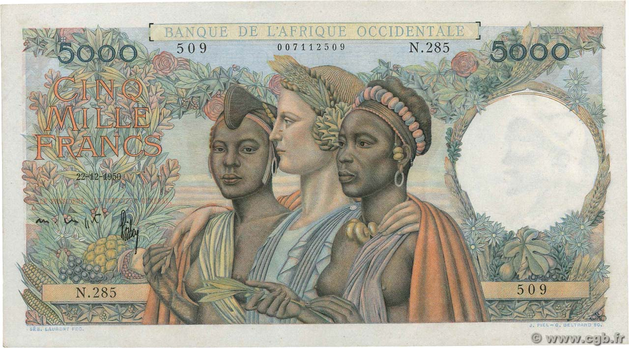 5000 Francs FRENCH WEST AFRICA (1895-1958)  1950 P.43 XF+