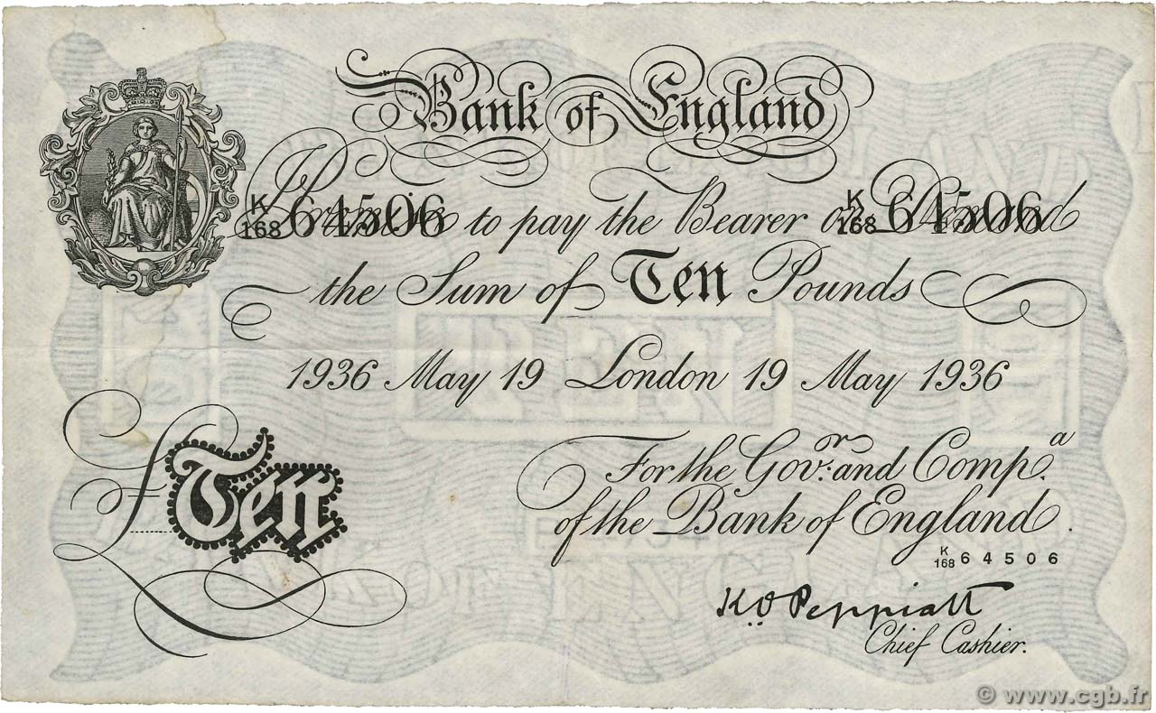 10 Pounds  ANGLETERRE  1936 P.336a TTB
