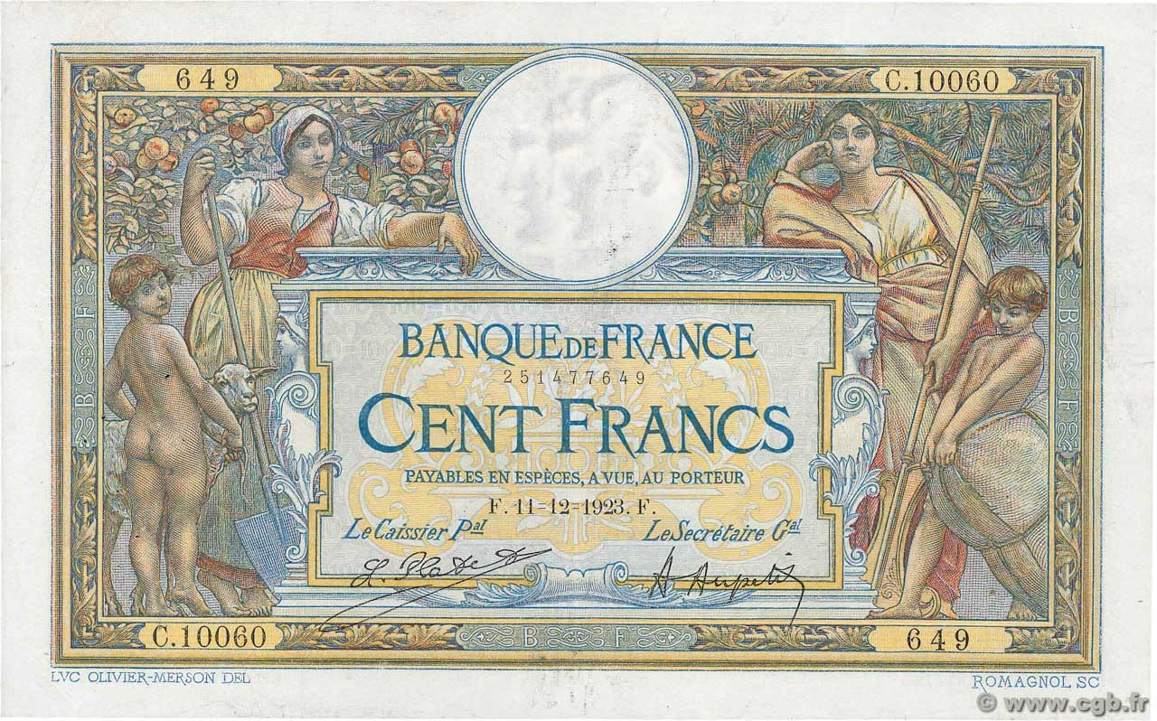 100 Francs LUC OLIVIER MERSON grands cartouches FRANCE  1923 F.24.01 F