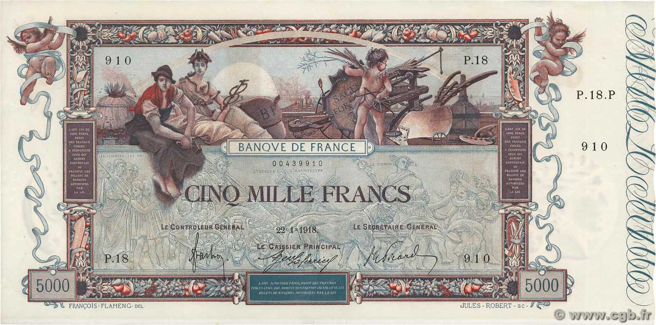 5000 Francs FLAMENG FRANCE  1918 F.43.01 AU-