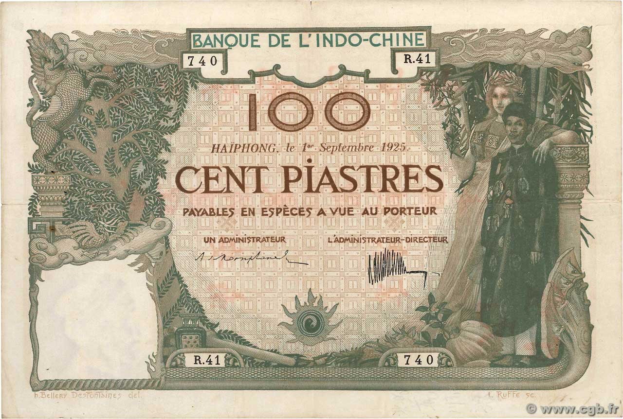 100 Piastres FRENCH INDOCHINA Haïphong 1925 P.020 F - VF