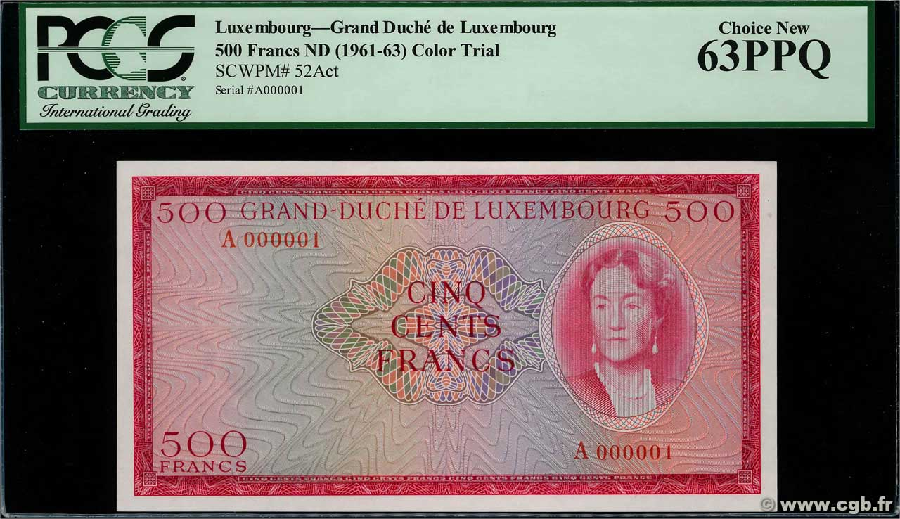 500 Francs Essai LUXEMBOURG  1961 P.52Act NEUF