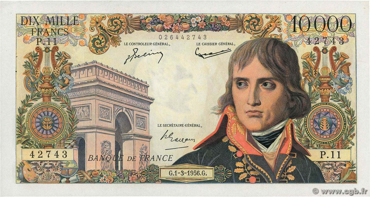 10000 Francs BONAPARTE FRANCE  1956 F.51.02 AU