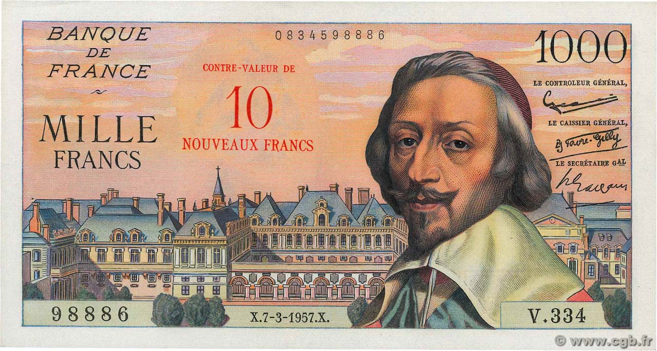 10 NF sur 1000 Francs RICHELIEU FRANCE  1957 F.53.01 AU
