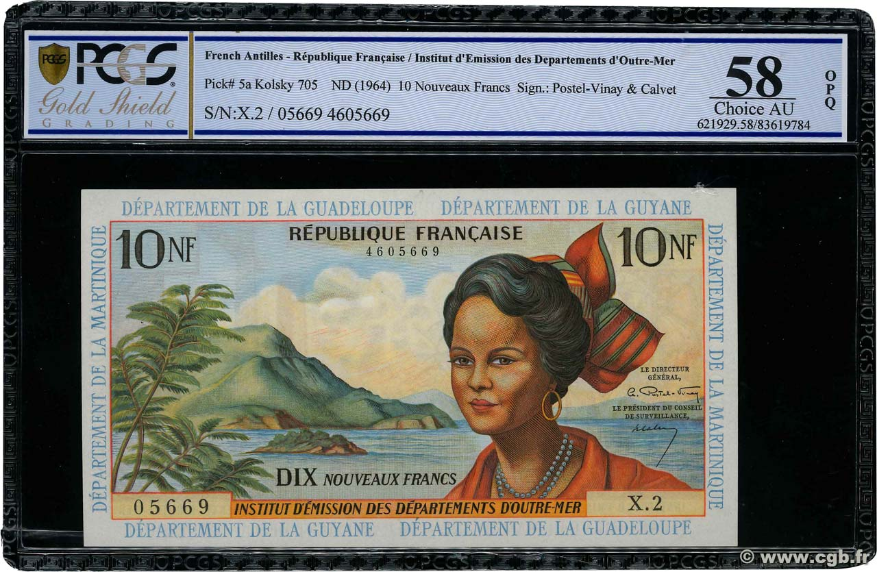 10 Nouveaux Francs FRENCH WEST INDIES  1962 P.05a XF+