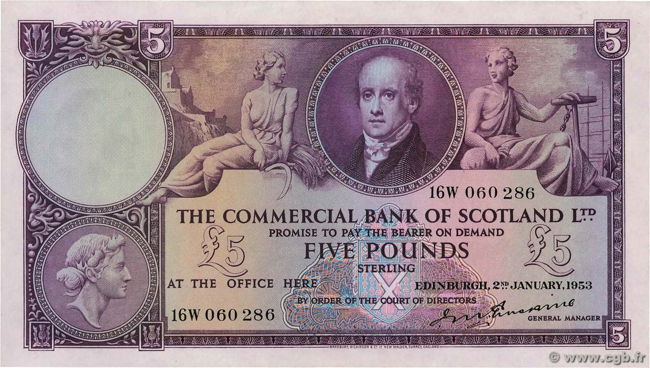 5 Pounds SCOTLAND  1953 PS.333 AU-