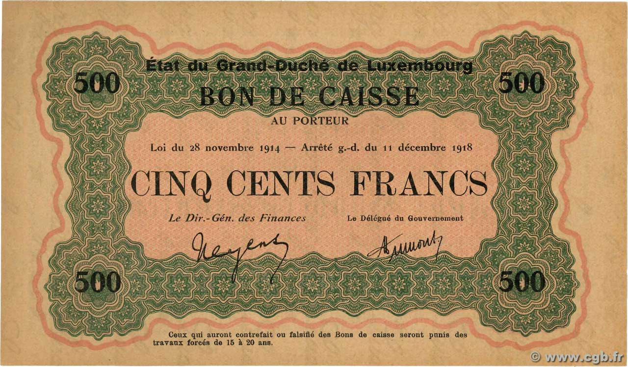 500 Francs LUXEMBOURG  1919 P.33a UNC-
