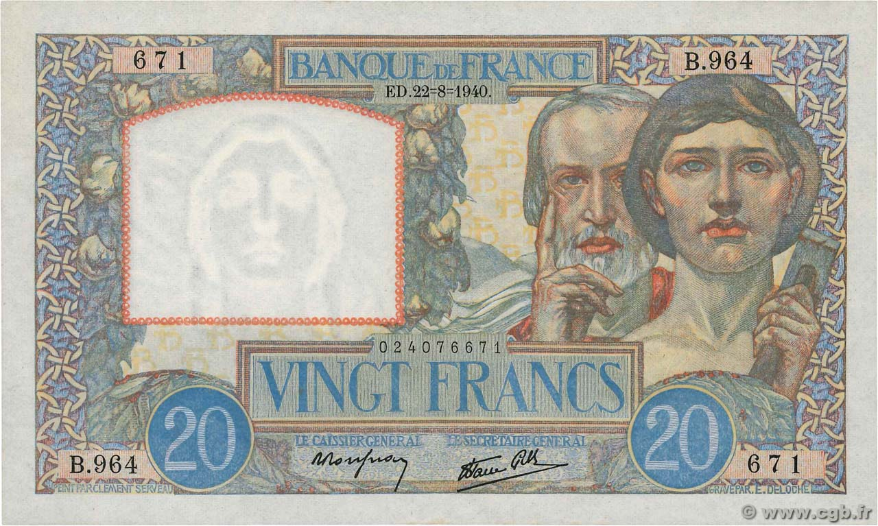 20 Francs TRAVAIL ET SCIENCE FRANCE  1940 F.12.06 SPL